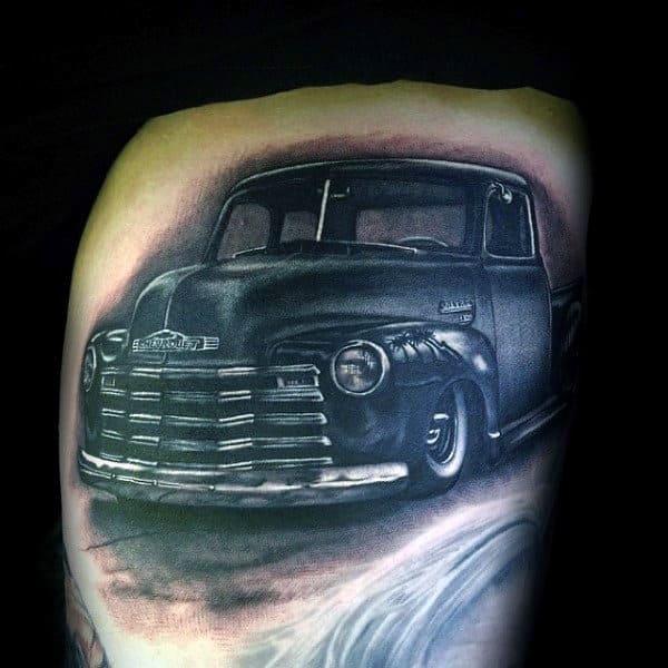 Mens Realistic Truck Thigh Tattoos
