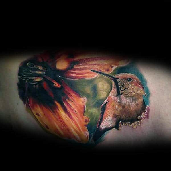 Mens Realistic Watercolor Hummingbird Inner Arm Tattoo Designs