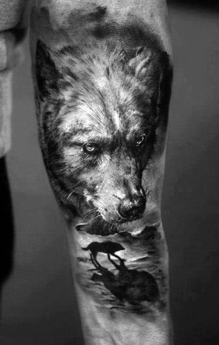 Mens Realistic Wof On Beach Tattoo On Inner Forearm
