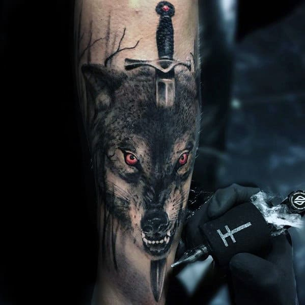 Mens Realistic Wolf Dagger Outer Forearm Tattoo