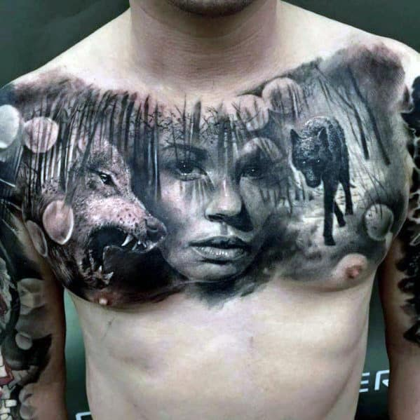 Mens Realistic Wolves In Forest With Female Portrait Upper Chest Tattoo