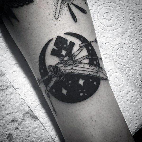 Mens Rebel Alliance Spaceship Leg Tattoo Design Inspiration