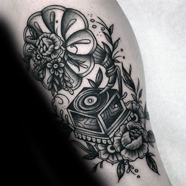 Mens Record Player Traditional Shaded Leg Tattoos