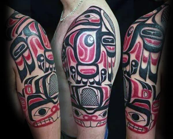 Mens Red And Black Ink Tribal Half Sleeve Haida Tattoo Designs