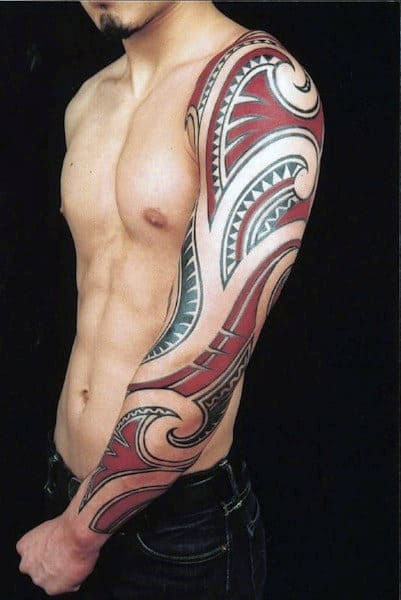 90 tribal sleeve tattoos for men manly arm design ideas rh nextluxury com red and black tribal cross tattoos red and black tribal tattoo sleeves