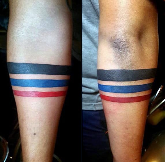 Mens Red Blue And Black Armband Minimalistic Tattoos