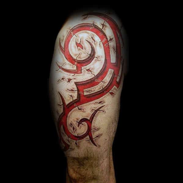 Mens Red Ink 3d Tribal Arm Tattoos