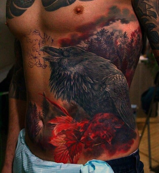 Mens Red Ink Crow Rib Cage Side Tattoo