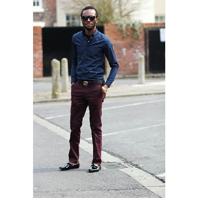 Mens Red Pants Trousers Navy Blue Style