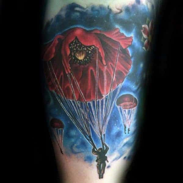 Mens Red Poppy Flower Arm Parachute Tattoo Design Ideas