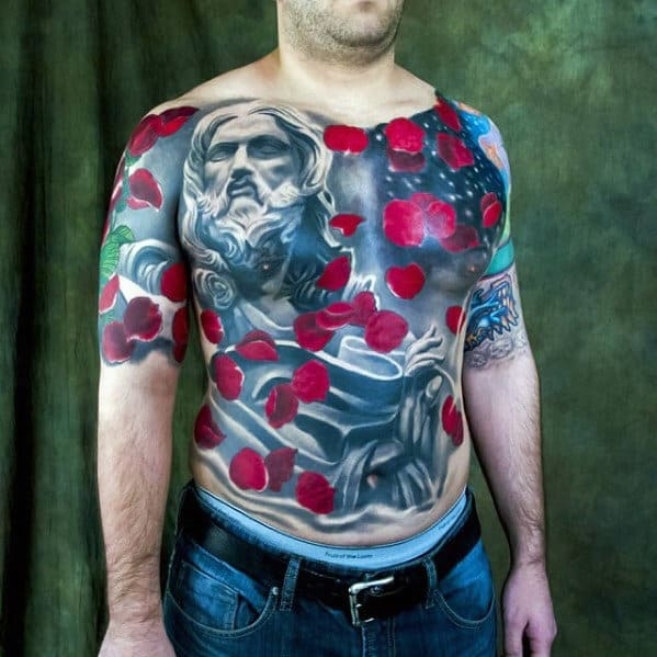 Mens Red Poppy Flower Jesus Chest Tattoos