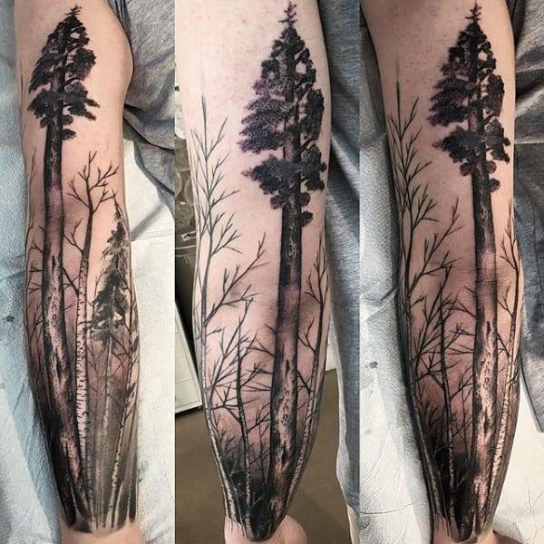 Mens Redwood Tree Sleeve Tattoo Ideas