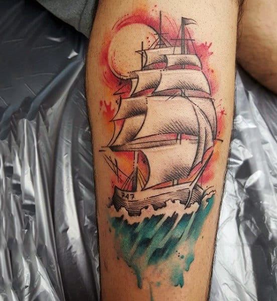 Mens Regal Ship Watercolor Tattoo On Arms