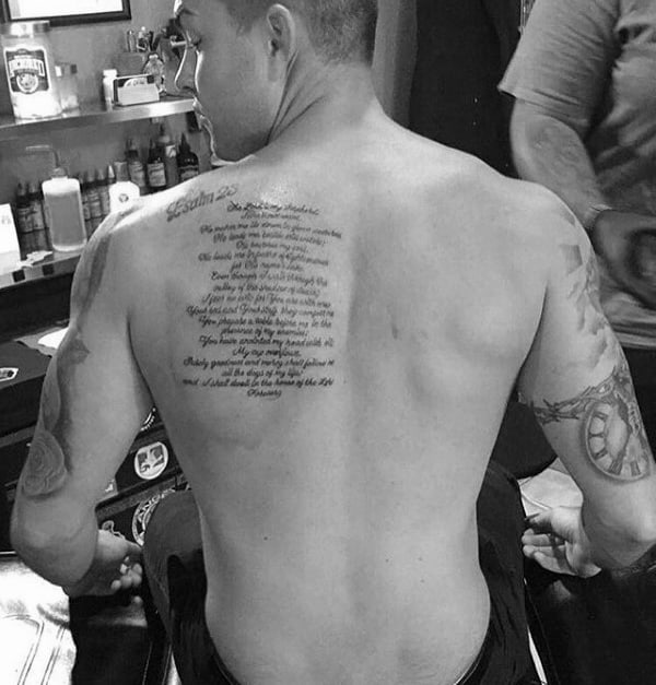 Mens Religious Christian Bible Quote Psalm 23 Tattoo On Shoulder Blade