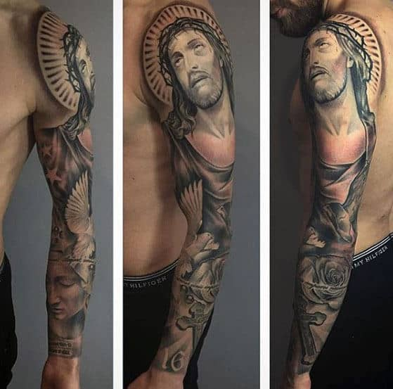 Mens Religious Christian Themed Jesus Sleeve Tattoo Ideas