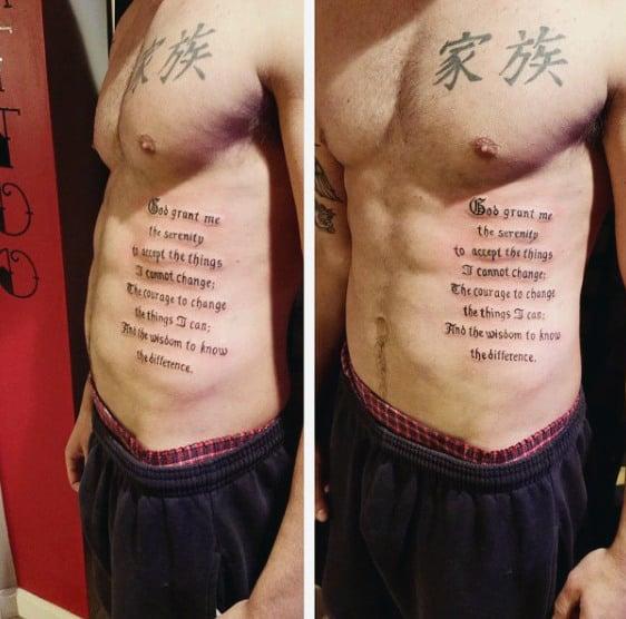 50 serenity prayer tattoo designs for men uplifting ideas for Religious rib tattoos for guys