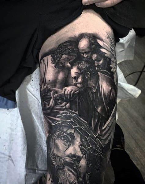 Mens Religious Tattoo Inner Biceps