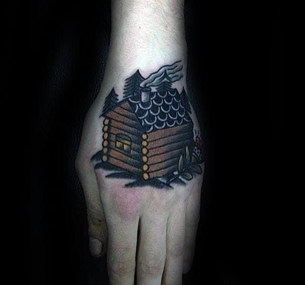 Mens Retro Cabin Hand Tattoos