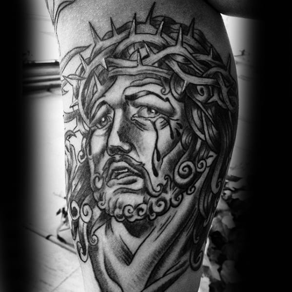 Mens Retro Jesus Old School Portrait Tattoo On Arm