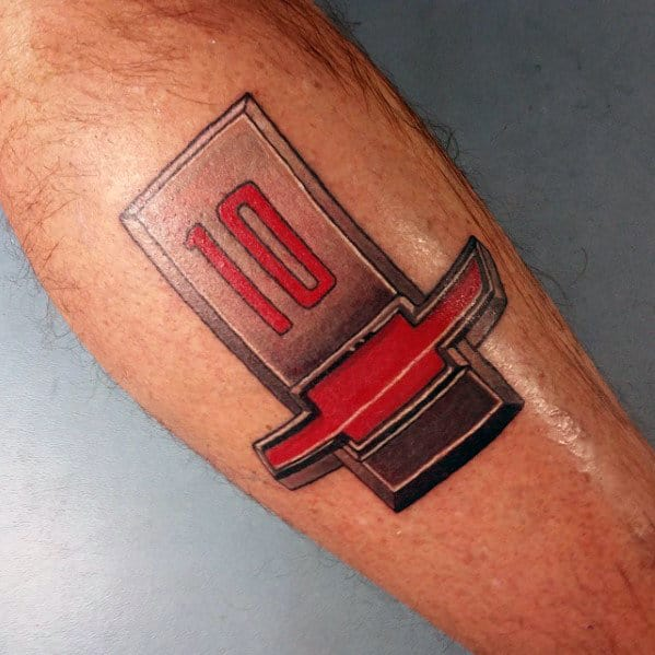Mens Retro Old School Chevy Logo Leg Tattoo With Red And Grey Ink Design