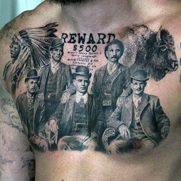 Mens Reward Gangsters Badass Vintage Upper Chest Tattoo