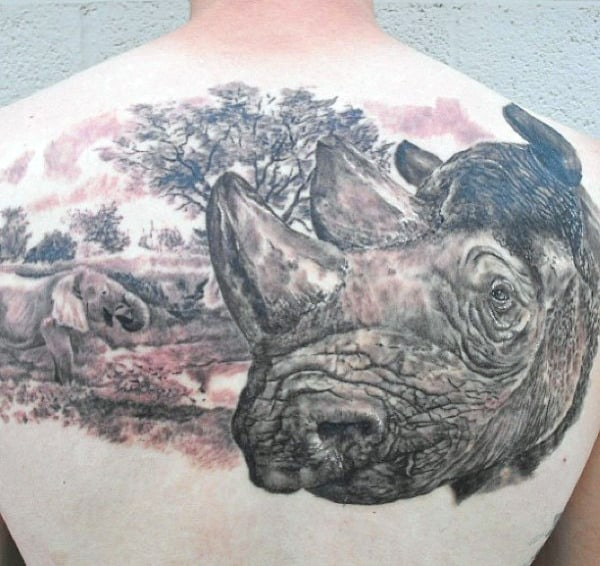 Mens Rhino Back Tattoos