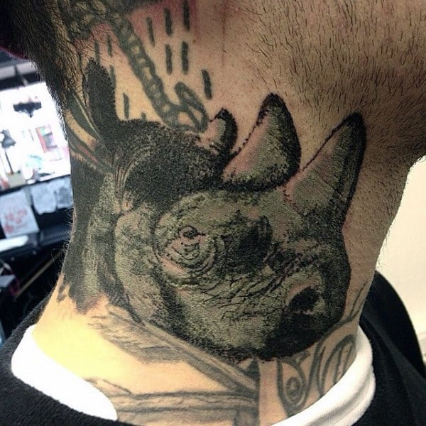 Mens Rhino Neck Tattoo Design Ideas