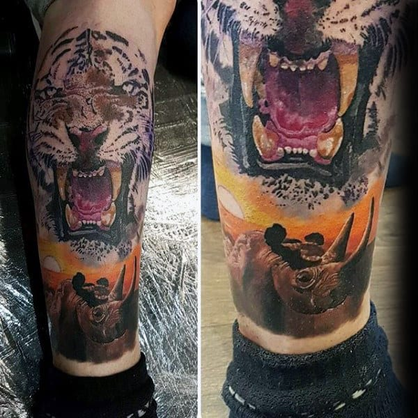 Mens Rhino Tiger Leg Tattoo Designs
