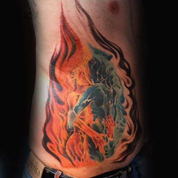 Mens Rib Cage Blue And Orange Fire Tattoo