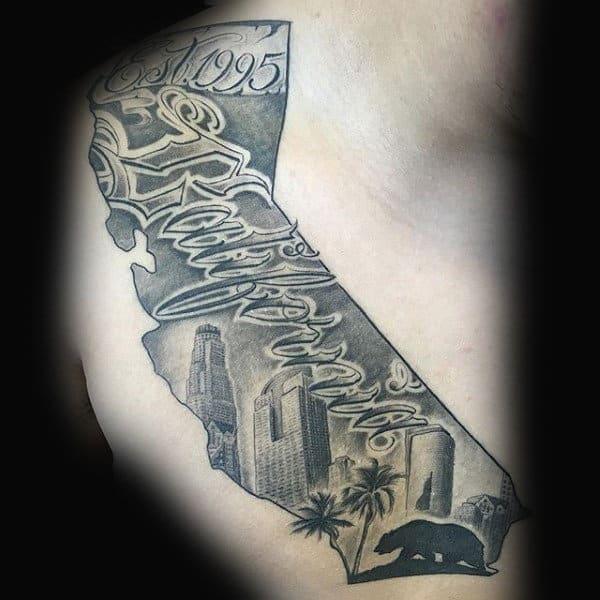 Mens Rib Cage California Shaded Ink Tattoo Ideas
