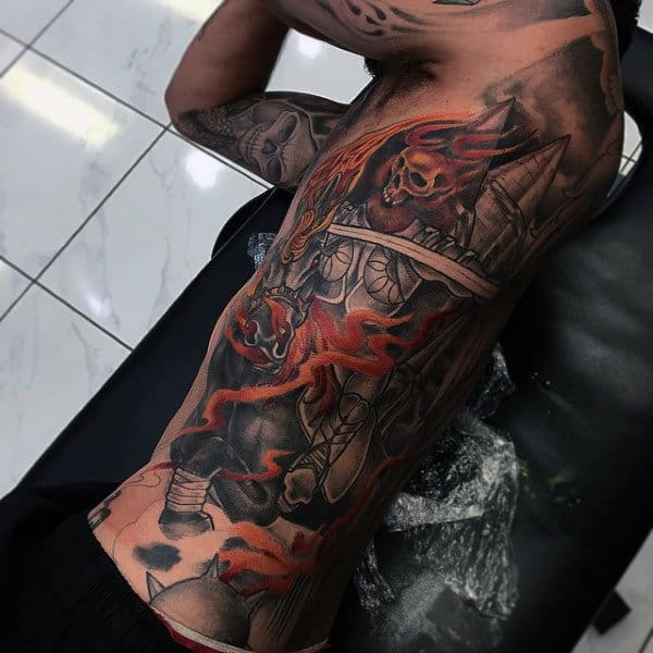 Mens Rib Cage Side Badass Flaming Skeleton Riding Horse Tattoo