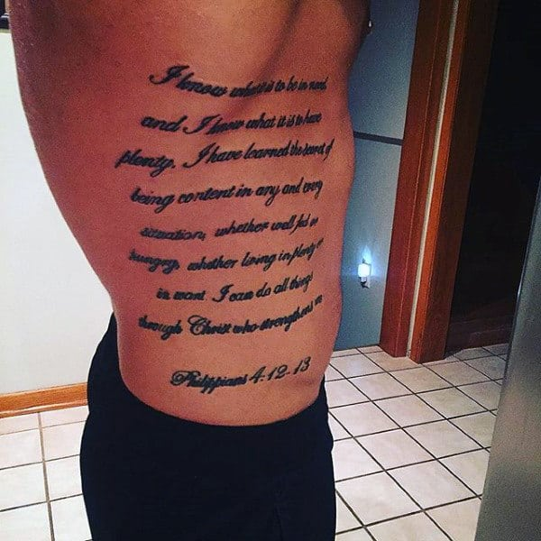 Mens Rib Cage Side Bible Quote Philippians 4 13 Tattoo