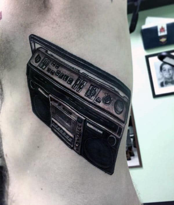 Mens Rib Cage Side Boombox Tattoos