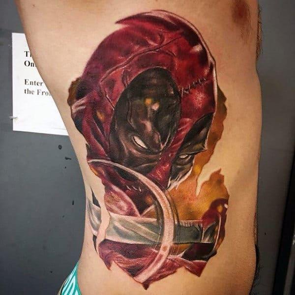 Mens Rib Cage Side Deadpool Sword Tattoo Designs