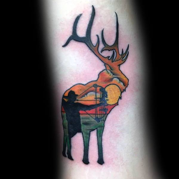 Mens Rib Cage Side Deer Bowhunting Tattoo
