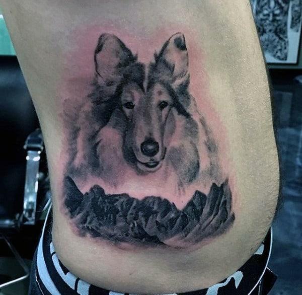 Mens Rib Cage Side Dog Tattoos