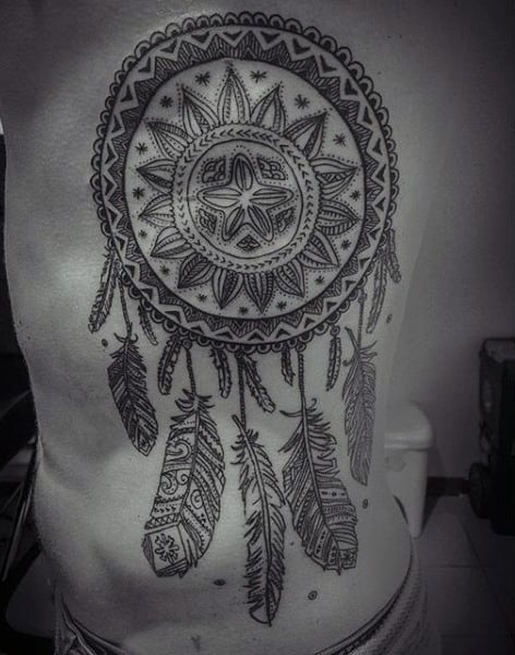 Mens Rib Cage Side Dreamcatcher Tribal Tattoo
