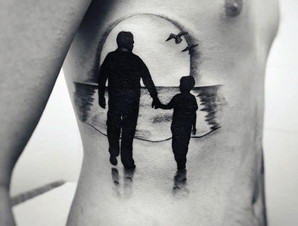 Mens Rib Cage Side Father Sun Beach Tattoos