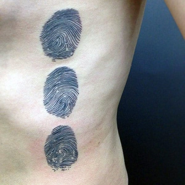 Mens Rib Cage Side Fingerprint Tattoos