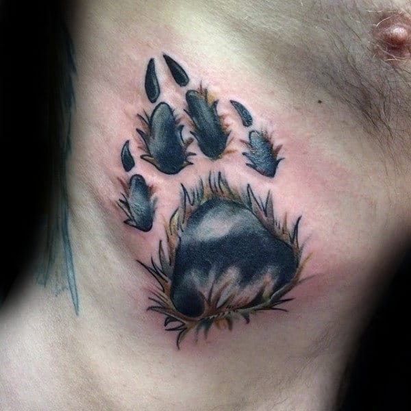Mens Rib Cage Side Furry Dog Paw Tattoo