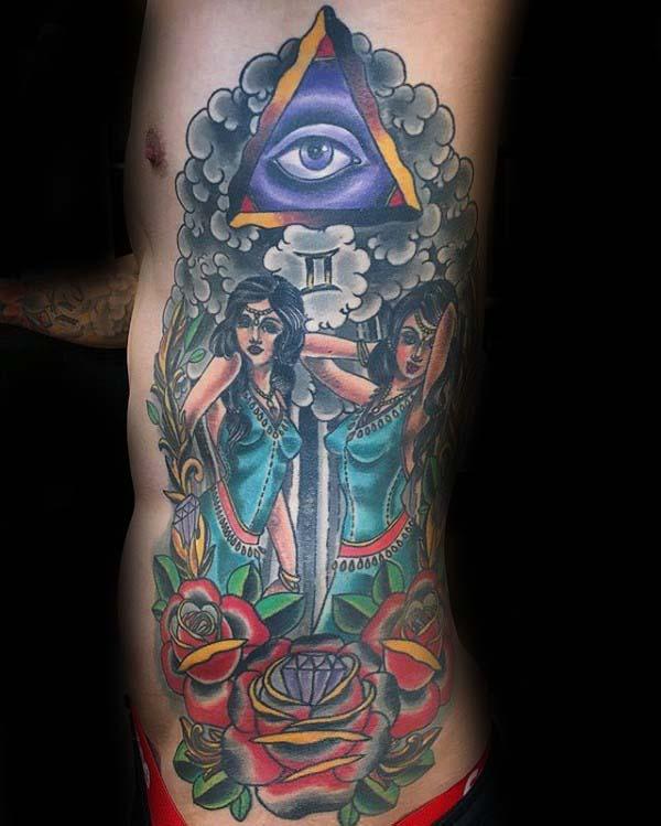 Mens Rib Cage Side Gemini Themed Tattoo Designs