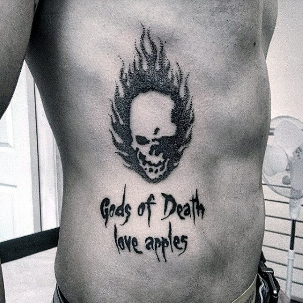 Mens Rib Cage Side Gods Of Death Love Apples Death Note Tattoo Ideas
