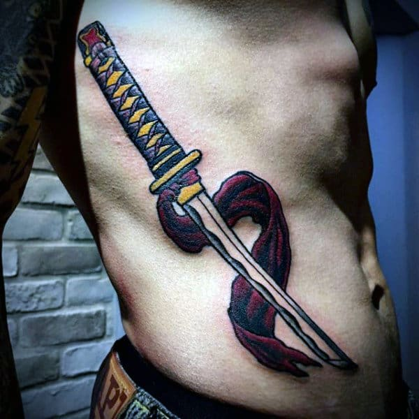 Mens Rib Cage Side Katana Sword Tattoos