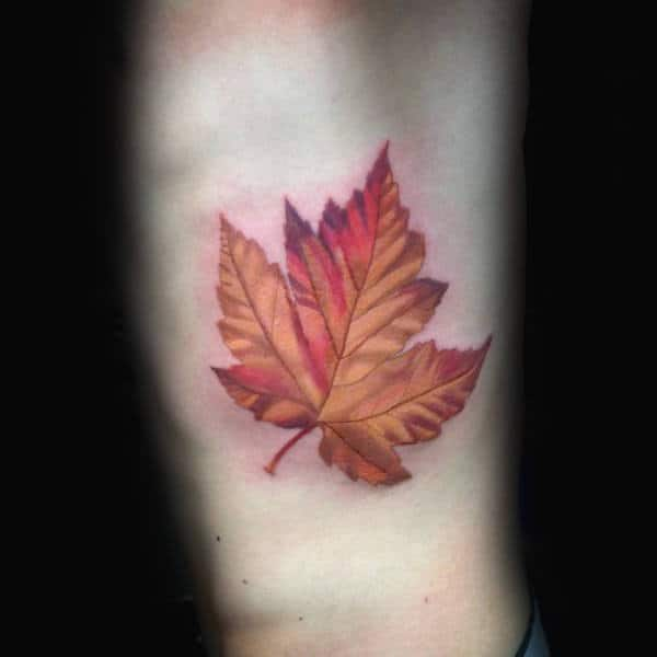 Mens Rib Cage Side Maple Leaf Tattoo Idas