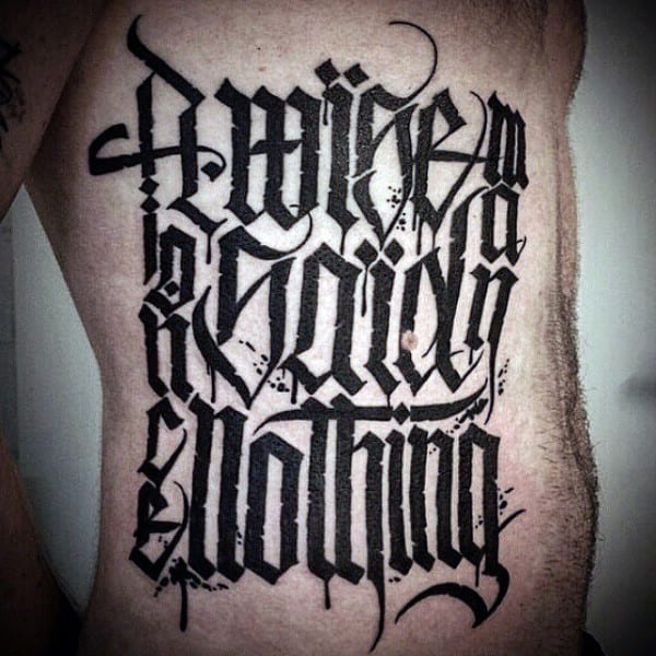 Mens Rib Cage Side Nothing Script Tattoos