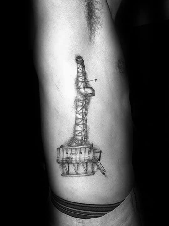 Mens Rib Cage Side Oilfield Tattoos