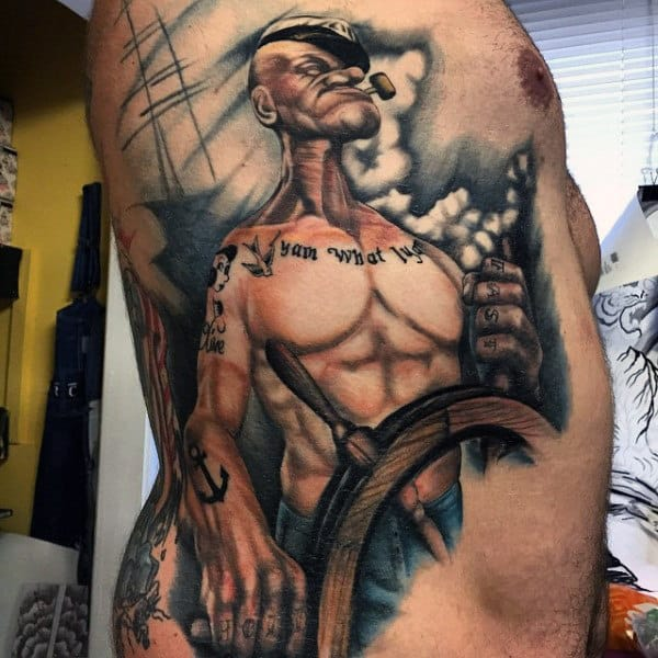 Mens Rib Cage Side Popeye Tattoo Designs