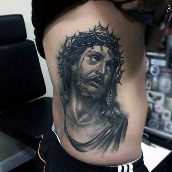 Mens Rib Cage Side Realistic Jesus Portrait Tattoos
