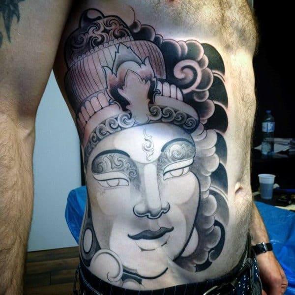 Mens Rib Cage Side Reflective Buddha Portrait Tattoo