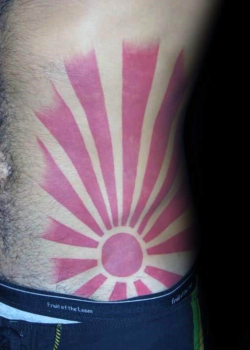 Mens Rib Cage Side Rising Sun Tattoo